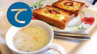 動画「昼ごはんのピザトースト&玉ねぎとキャベツの酢漬け」