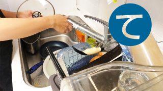 動画「アジの開きを食べたあとの皿洗い」