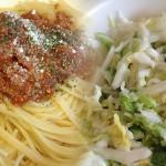 レンチンパスタと絶叫白菜の漬け物